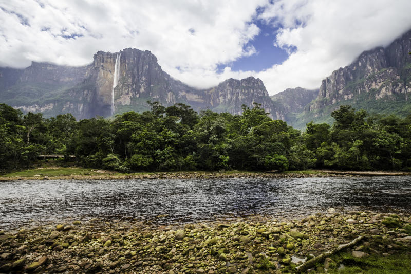 Angel Falls from the river bank, Canaima National Park