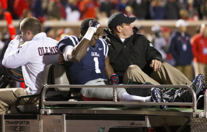 Ole Miss WR Laquon Treadwell is carted off the field after a horrific leg injury against Auburn. (AP)