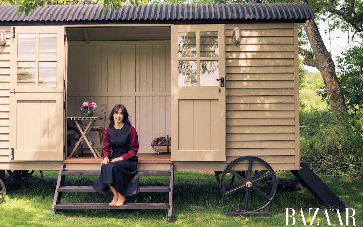 Samantha Cameron enjoying her 'designer shed' in the September issue of Harper's Bazaar, on sale 4th August - Harry Cory Wright/Harper's Bazaar