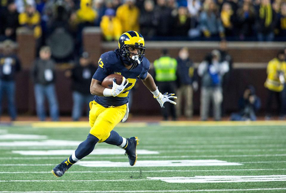 Michigan running back Chris Evans is suspended for the 2019 season, Jim Harbaugh said.