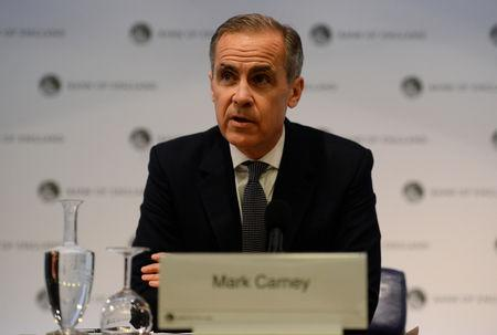 FILE PHOTO: Bank of England Governor Mark Carney speaks at a press conference at the Bank of England in London, Britain February 25, 2019. Kirsty O'Connor/Pool via REUTERS/File Photo