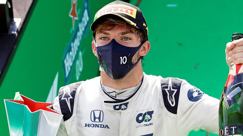 French driver Pierre Gasly is pictured celebrating after winning the Italian Grand Prix.
