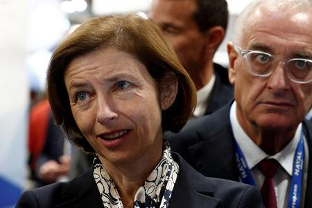 FILE PHOTO: French Defence Minister Florence Parly visits Euronaval, the world naval defence exhibition in Le Bourget near Paris