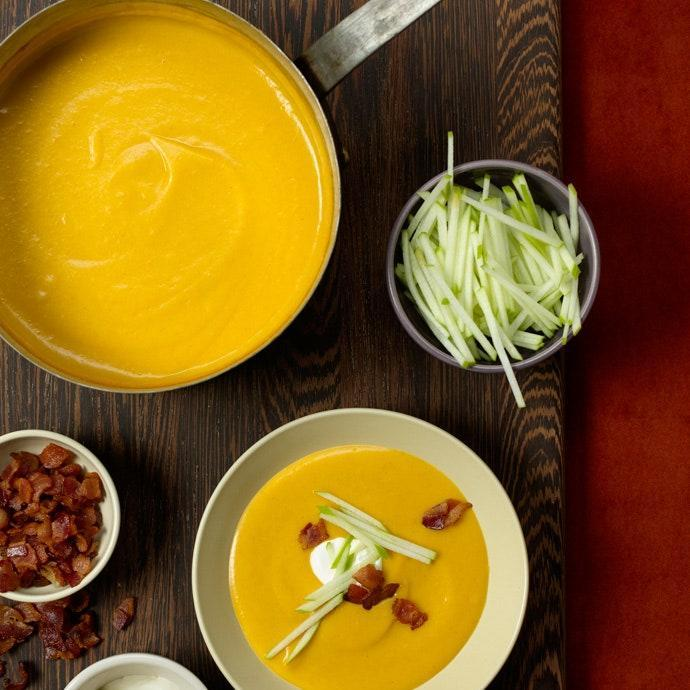 """Creamy but without cream, this soup makes a light start to any meal. <a href=""""https://www.epicurious.com/expert-advice/creative-toppings-for-soup-ideas-article?mbid=synd_yahoo_rss"""" rel=""""nofollow noopener"""" target=""""_blank"""" data-ylk=""""slk:The garnishes"""" class=""""link rapid-noclick-resp"""">The garnishes</a> really pull it all together, offering textural and flavor contrasts. <a href=""""https://www.epicurious.com/recipes/food/views/butternut-squash-apple-soup-365210?mbid=synd_yahoo_rss"""" rel=""""nofollow noopener"""" target=""""_blank"""" data-ylk=""""slk:See recipe."""" class=""""link rapid-noclick-resp"""">See recipe.</a>"""