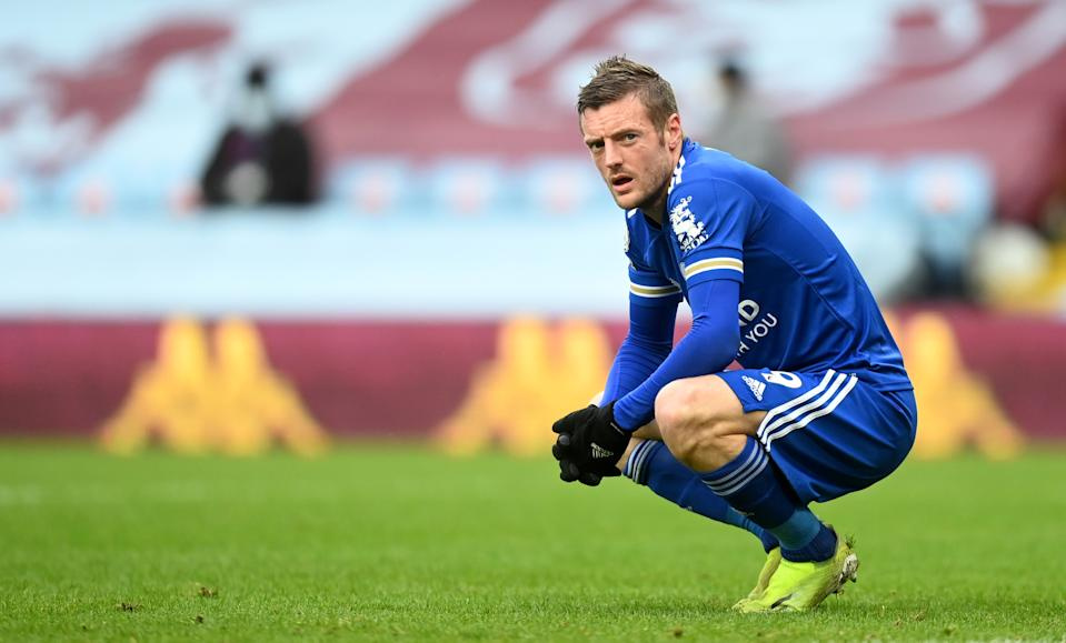 Leicester City's Jamie Vardy crouches during the Premier League match at Villa Park, Birmingham. Picture date: Sunday February 21, 2021.