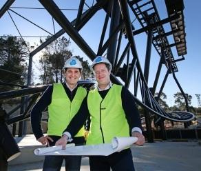Adventure World General Manager Ross Ogilvie and CEO Mark Shaw inspect the early work on the park's new roller coaster which is expected to be complete in October. Picture: Mogens Johansen/The West Australian