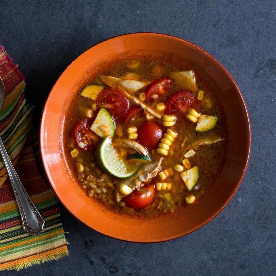 <p>This healthy chicken and vegetable soup recipe is perfect for when you're in the mood for comfort food and Mexican all in one! The small amount of chipotle peppers in adobo sauce gives it a mild spice level. For a spicier soup, stir in up to 2 tablespoons chipotle peppers. Look for the small cans of smoked chipotle peppers in adobo sauce near other Mexican ingredients in well-stocked supermarkets. Once opened, refrigerate for up to 2 weeks or freeze for up to 6 months.</p>
