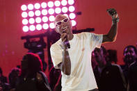 FILE - Pharrell Williams performs at the 2019 Global Citizen Festival on Sept. 28, 2019, in New York. Williams turns 48 on April 5. (Photo by Charles Sykes/Invision/AP, File)