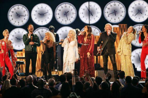 PHOTO: Katy Perry, Phillip Sweet, Karen Fairchild, Dolly Parton, Kimberly Schlapman, Jimi Westbrook, Miley Cyrus and Kacey Musgraves perform '9 to 5,' at the 61st Grammy Awards, Feb. 10, 2019. (Mike Blake/Reuters)