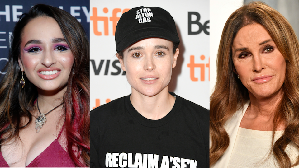 Jazz Jennings (left), Elliot Page (center) and Caitlyn Jenner (right). Jennings and Jenner were among the many prominent transgender figures to share their support for Page. (Photos: Getty Images)