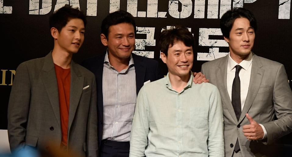 Song Joong-ki (left), Hwang Jung-min, Ryoo Seung-wan and So Ji-Sub at a press conference in Singapore. (Photo: Yahoo Lifestyle Singapore/Elizabeth Tong).