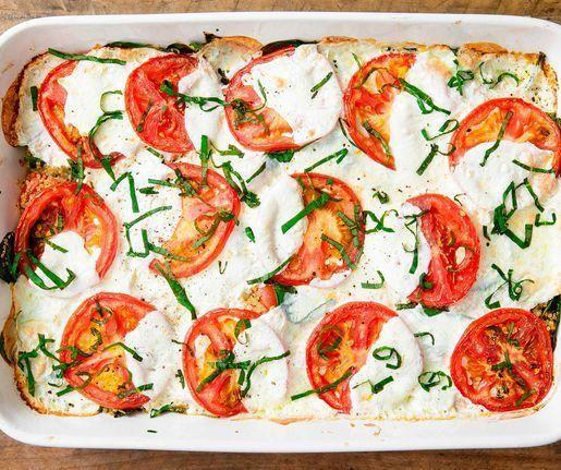"""<p>Cheese tip: look for <strong>low moisture</strong> fresh mozzarella in your grocery store. It'll stay more firm, and release less water. </p><p>Get the <a href=""""https://www.delish.com/uk/cooking/recipes/a32183261/caprese-quinoa-bake-recipe/"""" rel=""""nofollow noopener"""" target=""""_blank"""" data-ylk=""""slk:Caprese Quinoa Bake"""" class=""""link rapid-noclick-resp"""">Caprese Quinoa Bake</a> recipe.</p>"""