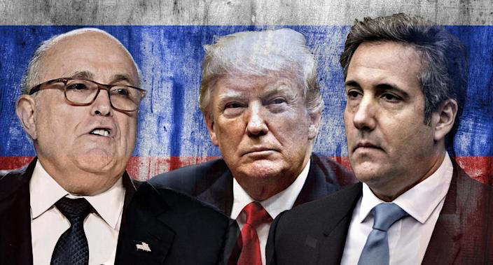 Rudy Giuliani, Donald Trump, Michael Cohen. (Yahoo News photo illustration; photos: Anthony Devlin/Getty Images, Evan Vucci/AP, Getty Images)