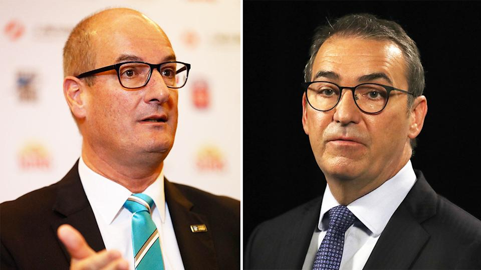 David Koch (pictured left) talking and South Australia Premier Steven Marshall (pictured right) at a press conference.