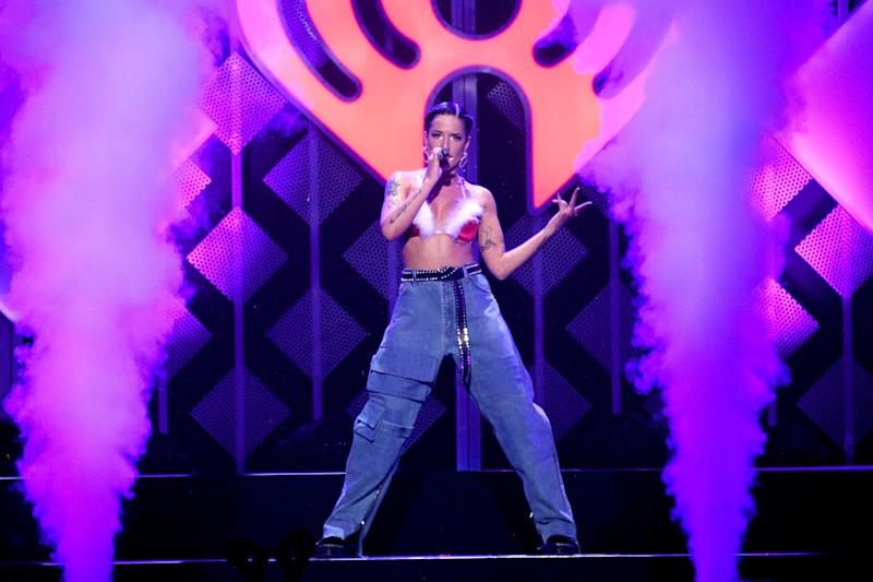 Halsey performing on stage.