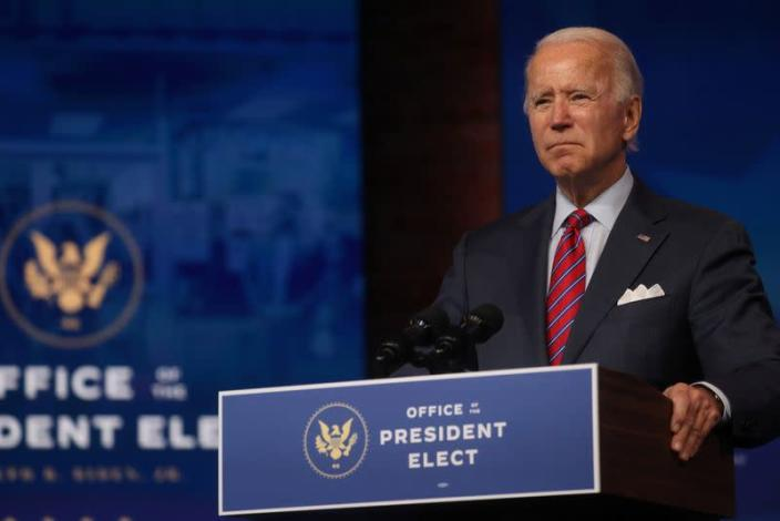 U.S. President-elect Joe Biden makes remarks on the economy from Wilmington, US