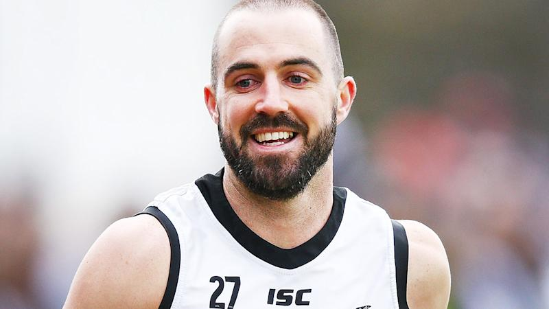 Collingwood's Steele Sidebottom is pictured during an AFL training session.