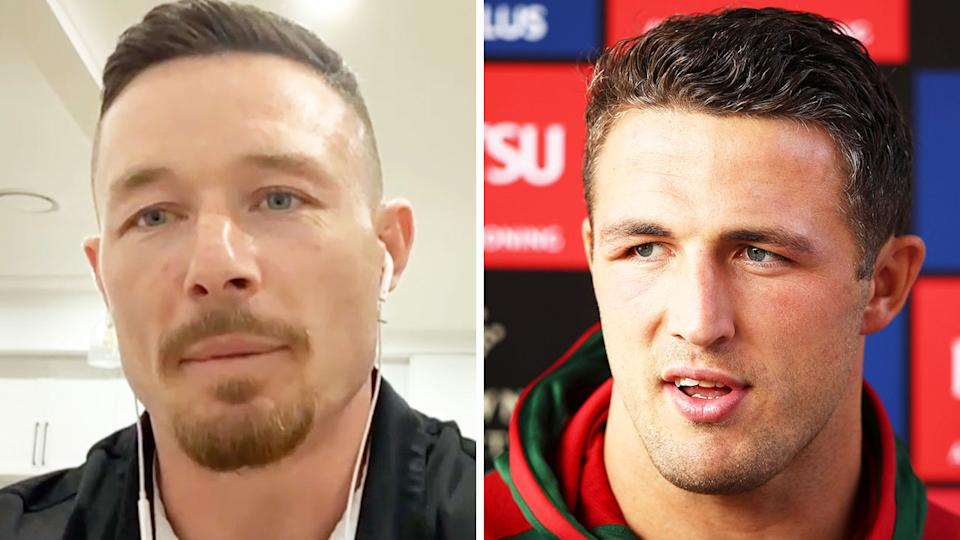 Sam Burgess (pictured right) during a media conference and Damien Cook (pictured left) during a live interview on NRL 360.