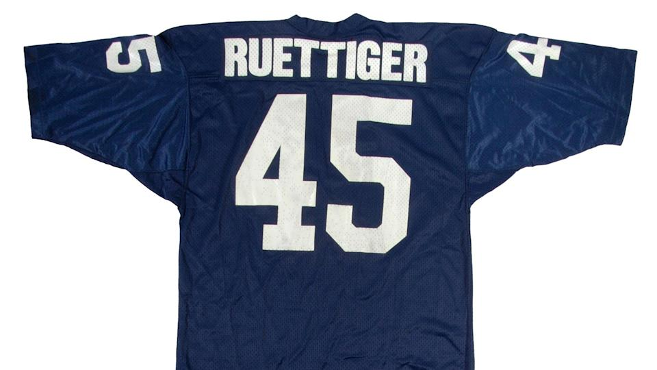 """<p><strong>Selling price:</strong> $241,500</p> <p>Although Daniel """"Rudy"""" Ruettiger only played for 27 seconds during one play in a single game, he is probably the most famous Notre Dame football player in history. His inspirational, heartwarming and, according to former Fighting Irish teammate Joe Montana, greatly embellished underdog story was immortalized in the 1993 sports movie classic """"Rudy."""" On Super Bowl weekend in Houston in 2017, gear worn by the real-life Rudy, who is now a motivational speaker, commanded nearly a quarter-million dollars.</p>"""