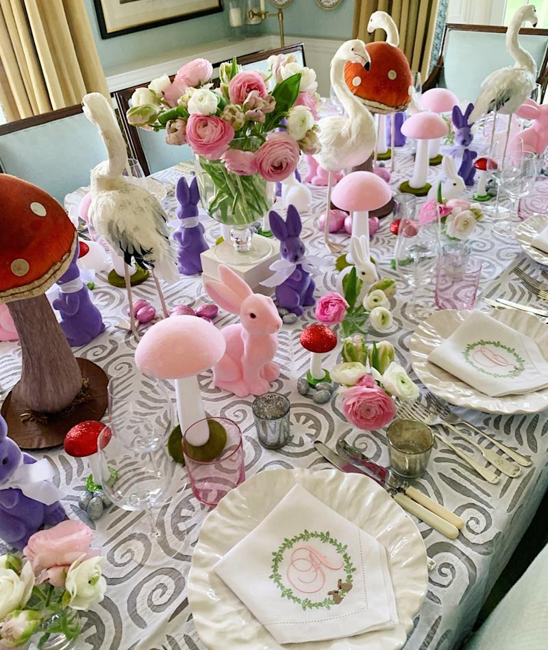 On Saturday evening, Wonderland met Easter on our dining room table. There were flamingos, rabbits, mushrooms, glitter eggs and more…plus monogrammed Easter napkins from The Embroidered Napkin Company.