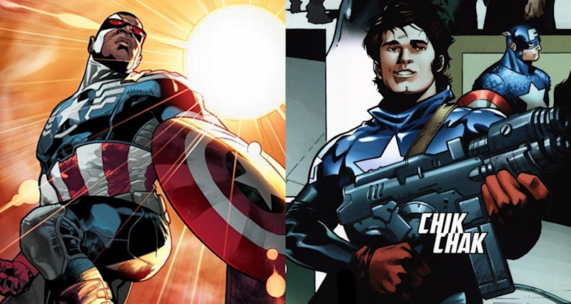 Sam Wilson and Bucky Barnes as Captain America in the comics. (Credit: Marvel)