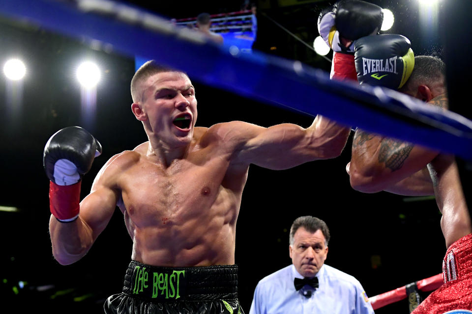 NEW YORK, NEW YORK - OCTOBER 05:  Ivan Baranchyk (L) punches Gabriel Bracero during their Super Lightweight Bout at Madison Square Garden on October 05, 2019 in New York City. (Photo by Steven Ryan/Getty Images)