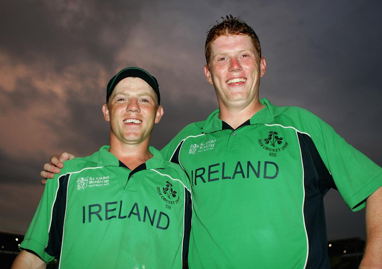 KINGSTON, JAMAICA - MARCH 17:  Brothers Niall O'Brien and Kevin O'Brien celebrate victory over Pakistan during the ICC Cricket World Cup 2007 Group D match between Ireland and Pakistan at Sabina Park on March 17, 2007 in Kingston, Jamaica.  (Photo by Paul Gilham/Getty Images)