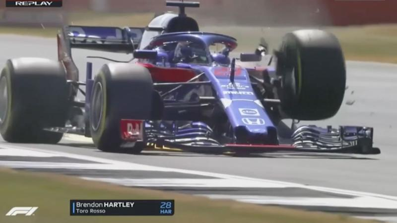 Toro Rosso's Brendon Hartley survives scary crash at Silverstone