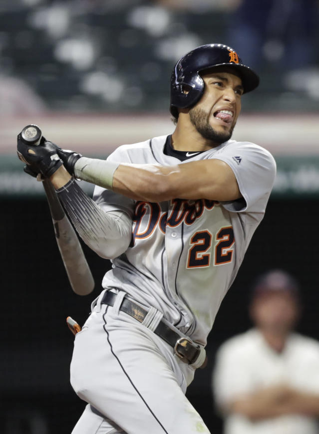 Detroit Tigers' Victor Reyes reacts after striking out in the ninth inning in a baseball game against the Cleveland Indians, Thursday, Sept. 19, 2019, in Cleveland. (AP Photo/Tony Dejak)