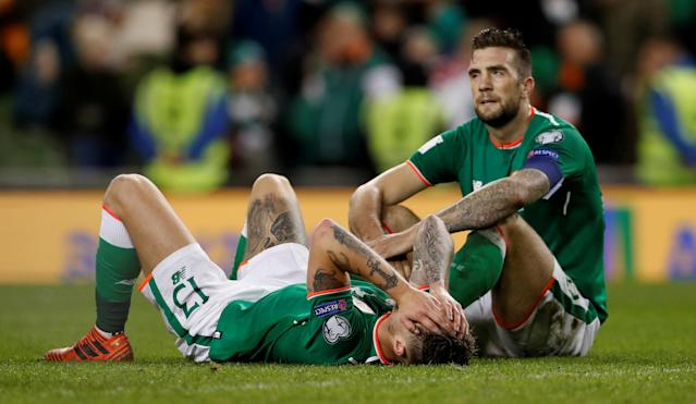 Soccer Football - 2018 World Cup Qualifications - Europe - Republic of Ireland vs Denmark - Aviva Stadium, Dublin, Republic of Ireland - November 14, 2017 Republic of Ireland's Jeff Hendrick and Shane Duffy looks dejected at the end of the match Action Images via Reuters/Lee Smith TPX IMAGES OF THE DAY