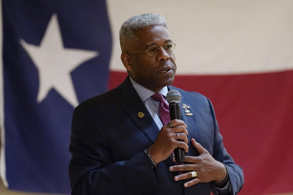 FILE - In this Wednesday, Sept. 22, 2021, file photo, Texas gubernatorial hopeful Allen West speaks at the Cameron County Conservatives anniversary celebration, in Harlingen, Texas. West, a candidate for the Republican nomination for governor of Texas, said Saturday, Oct. 9, 2021, that he has received monoclonal antibody injections after being diagnosed with COVID-19 pneumonia. (AP Photo/Eric Gay, File)