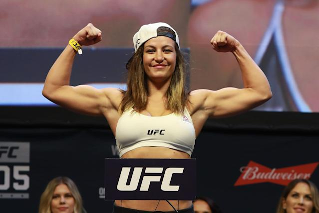 Miesha Tate reacts during UFC 205 weigh-ins at Madison Square Garden on November 11, 2016 in New York City. (Photo by Michael Reaves/Getty Images)
