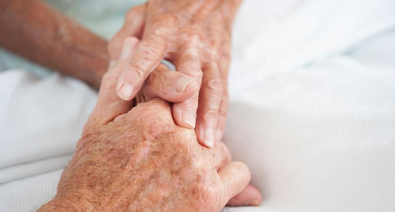 Old looking hands pictured after news patients can live-stream their death to ensure it is peaceful.