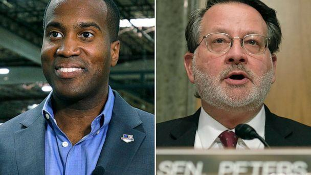 PHOTO: John James, Michigan GOP Senate candidate, does an interview with a news media outlet, Aug. 7, 2018, in Detroit. Senator Gary Peters questions Chad Wolf, acting secretary of the Department of Homeland Security on Capitol Hill, March. 4, 2020. (Bloomberg via Getty Images)
