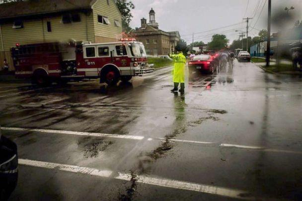 PHOTO: A traffic control officer directs a fire truck through a street intersection in North Tonawanda, N.Y. as seen in an image posted by the Live Hose Company #4 to their Facebook page. (livehose4/Facebook)