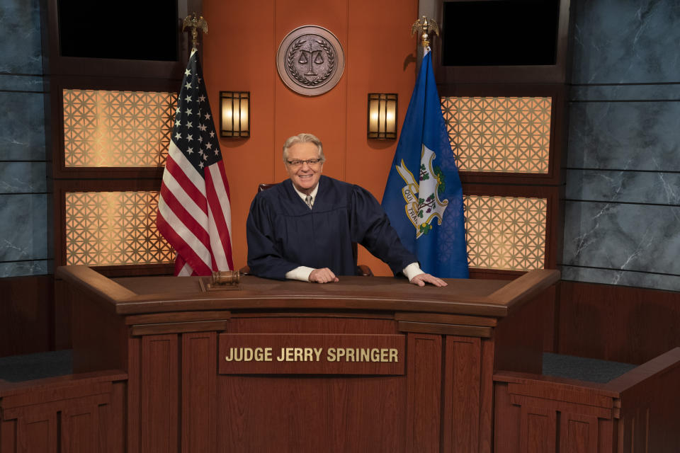 Jerry Springer takes the bench in 'Judge Jerry' (Photo: Virginia Sherwood/NBC)