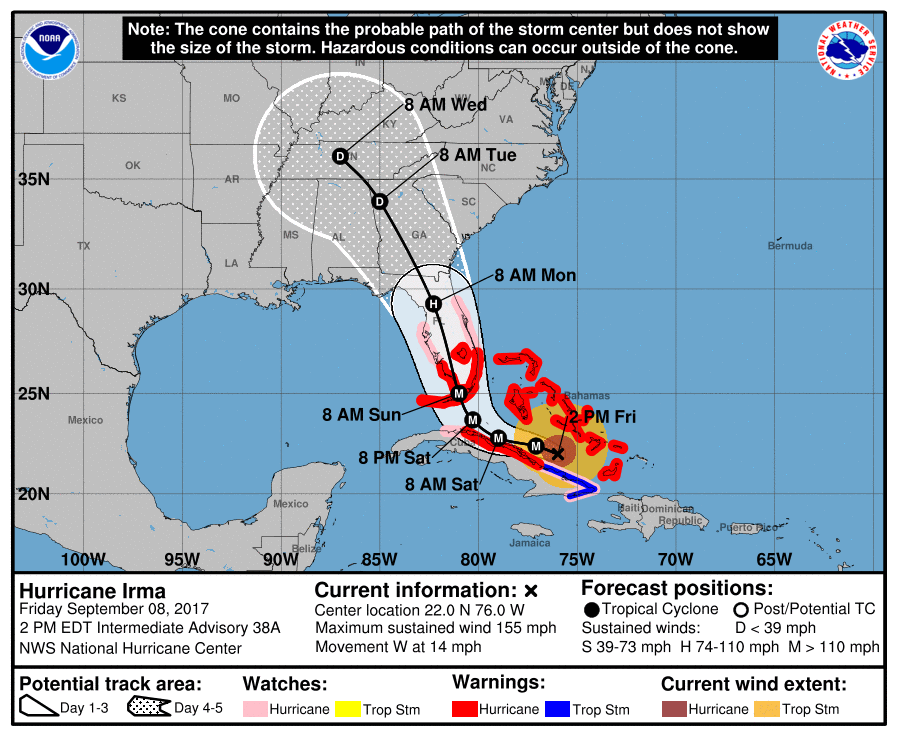 The track of Hurricane Irma, projected as of Friday afternoon, September 8, 2017. (Source: NHC)