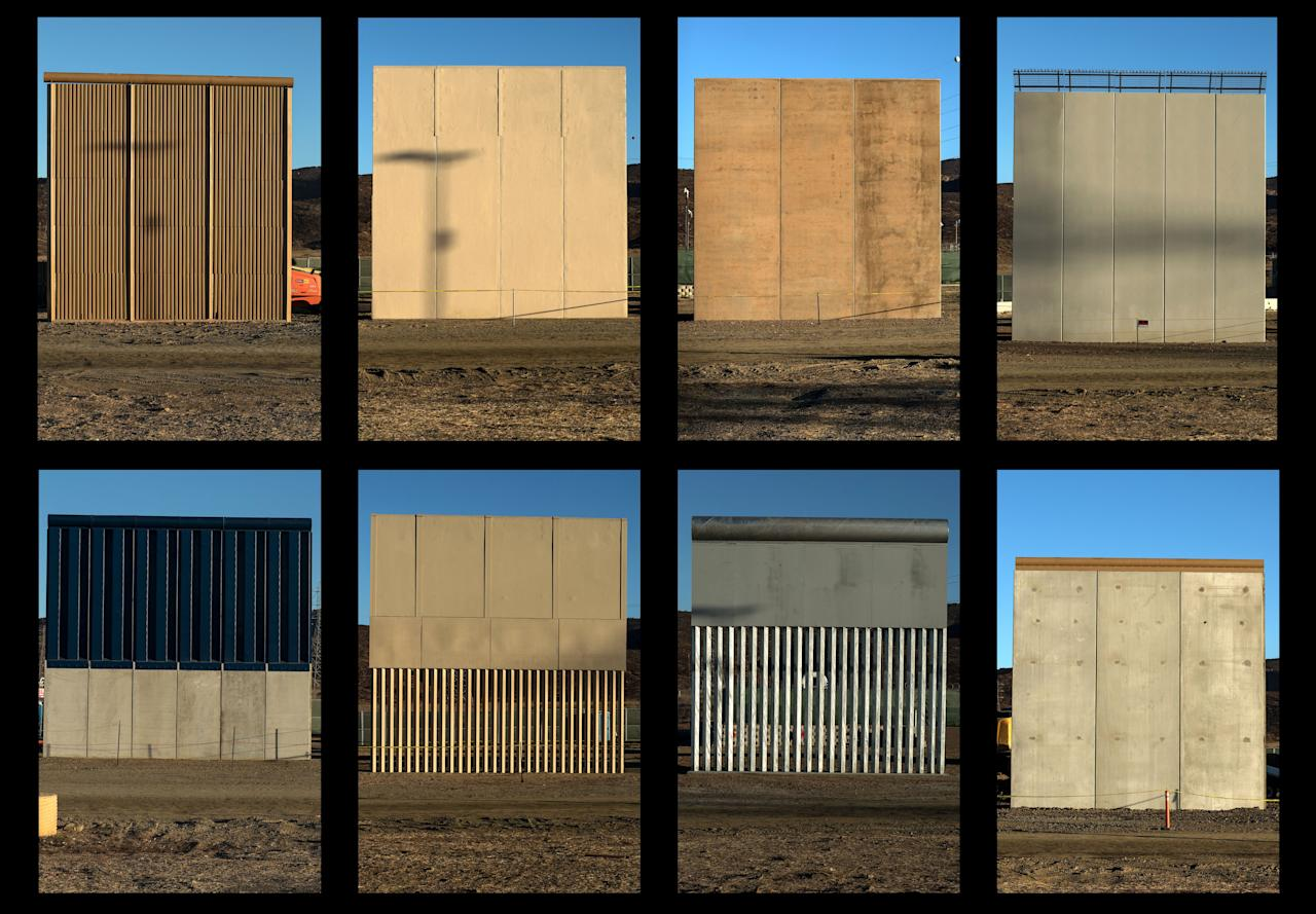<p>This combination of pictures shows the eight prototypes of US President Donald Trump's US-Mexico border wall being built near San Diego, in the US, seen from across the border from Tijuana, Mexico, on Oct. 22, 2017. (Photo: Guillermo Arias/AFP/Getty Images) </p>