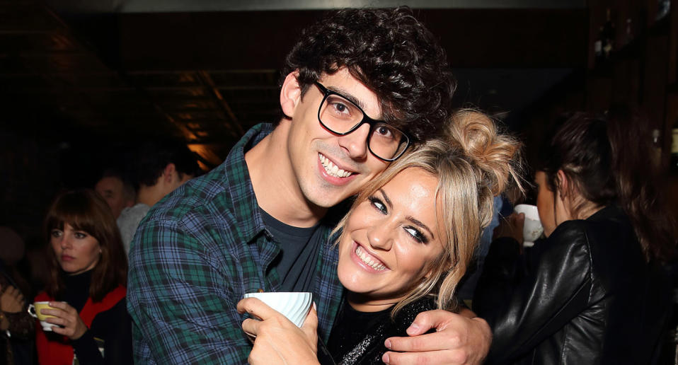 "Caroline Flack and Matt Richardson attend the launch of her autobiography ""Storm In A C Cup"" at Library on October 21, 2015 in London, England.  (Photo by Mike Marsland/WireImage)"