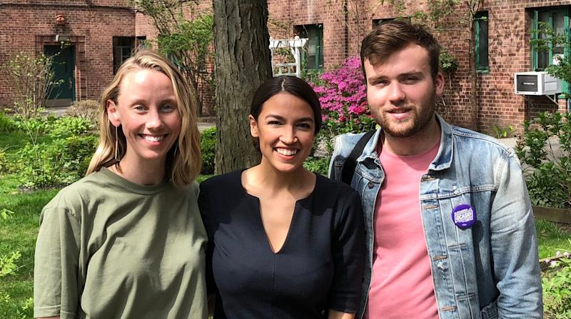 Means TV founders Naomi Burton, left, and Nick Hayes, right, with Alexandria Ocasio-Cortez. (Photo: Courtesy of MeansTV)