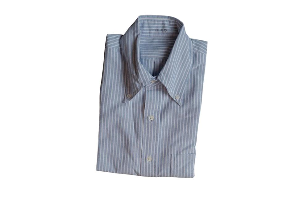 "$155, Wythe. <a href=""https://wythenewyork.com/products/oxford-cloth-button-down-blue-and-white-stripe"" rel=""nofollow noopener"" target=""_blank"" data-ylk=""slk:Get it now!"" class=""link rapid-noclick-resp"">Get it now!</a>"