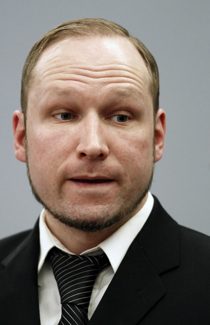 Confessed mass killer Anders Behring Breivik attends the fourth day of his trial on terror charges in Oslo, Norway, Thursday April 19, 2012. Breivik testified Thursday that he had planned to capture and decapitate former Norwegian Prime Minister Gro Harlem Brundtland during his shooting massacre on Utoya island on July 22, 2011. (AP Photo/Erlend Aas)