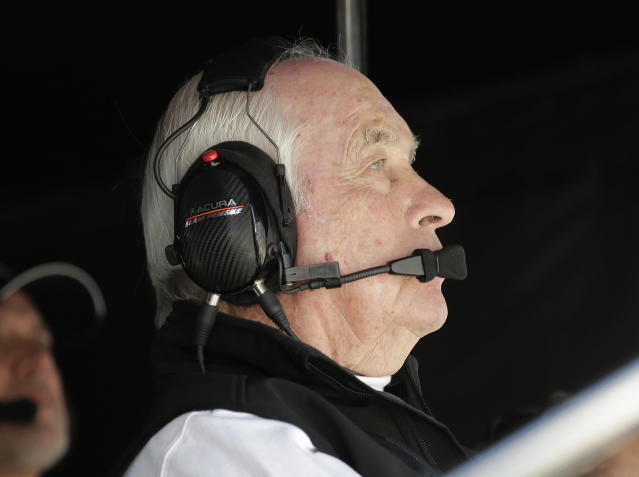 Acura Team Penske owner Roger Penske looks at a monitor during the Rolex 24 hour auto race at Daytona International Speedway, Saturday, Jan. 25, 2020, in Daytona Beach, Fla. (AP Photo/Terry Renna)