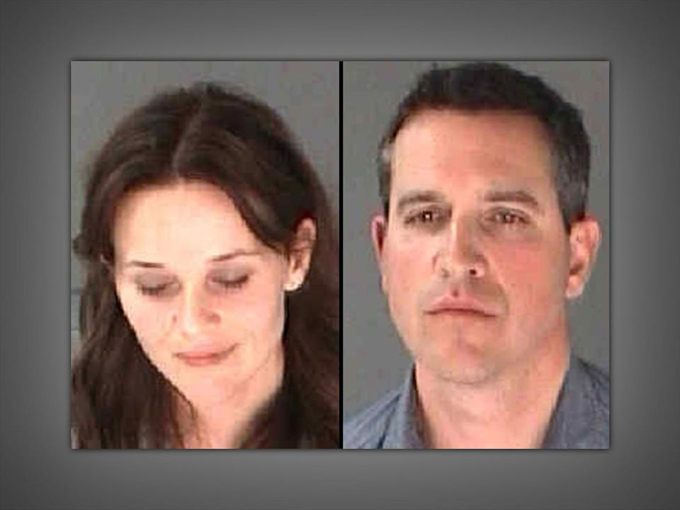 Reese Witherspoon headshot (l), actress, and husband, James Toth (r), combination photo from City of Atlanta Department of Corrections on texture, partial graphic
