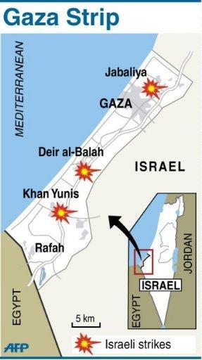 Map locating the areas affected by Israeli air strikes. Israel said it was responding a rocket attack