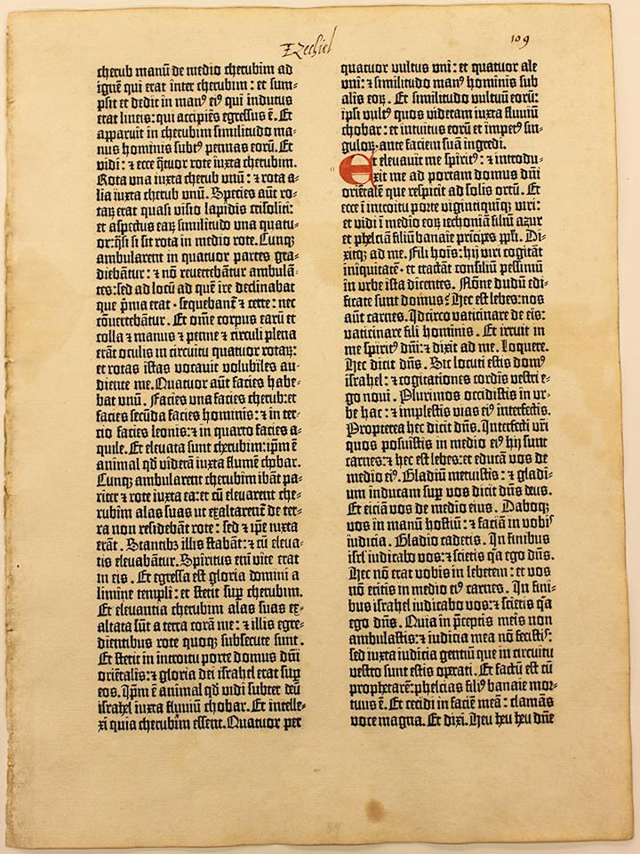 <h3>Gutenberg Leaf: Isaiah 44-5, Mainz, Germany, 1454</h3> It's the first book printed in the Western world using movable metal type. Only 48 copies (or major portions of copies) of the Johannes Gutenberg-printed books that sparked a revolution are known to survive today; rare-book experts estimate that a complete copy of the book would cost a collector $25 million to $35 million. Individual leaves can cost as much as $100,000.