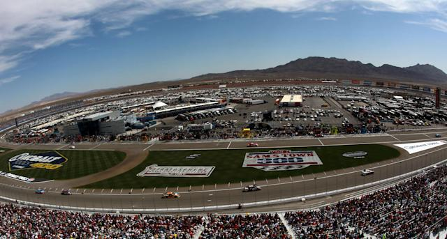 LAS VEGAS, NV - MARCH 11: Cars race during the NASCAR Sprint Cup Series Kobalt Tools 400 at Las Vegas Motor Speedway on March 11, 2012 in Las Vegas, Nevada. (Photo by Ronald Martinez/Getty Images for NASCAR)