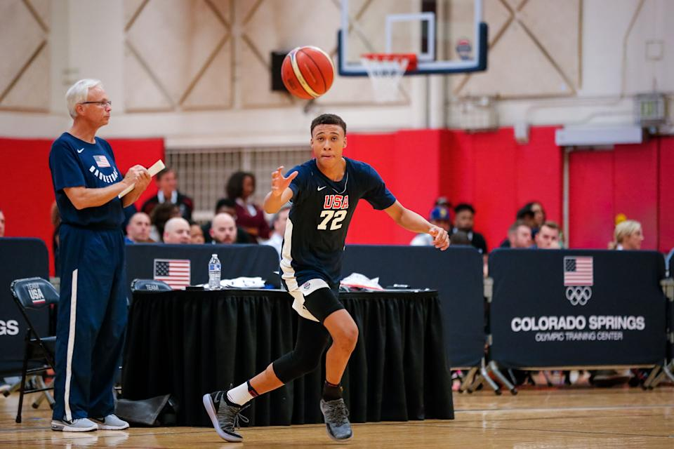 USA Men's Junior National Team participant RJ Hampton participates in minicamp at the U.S. Olympic Training Center in Colorado Springs, Colorado, on Oct. 5, 2018.