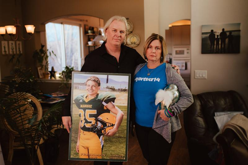 At age 14, Caleb Stenvold was a high school freshman in the gifted and talented program. He ran track and played defensive cornerback on his school's football team. Just two months into high school ― and four months after Alec's suicide — Caleb killed himself, on Oct. 22, 2019. (Photo by Lauren Casto for KHN)