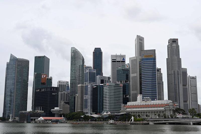 This general view shows the skyline of the financial business district in Singapore on January 2, 2020. - Singapore's trade-reliant economy grew 0.8 percent in the fourth quarter to December, according to advance estimates by the trade ministry on January 2. (Photo by Roslan RAHMAN / AFP) (Photo by ROSLAN RAHMAN/AFP via Getty Images)